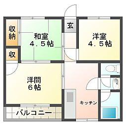 兵庫県神戸市須磨区衣掛町4丁目の賃貸アパートの間取り