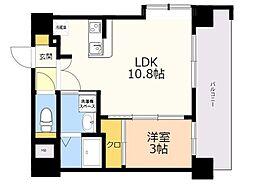 ネストピア博多ガーデン 2階1LDKの間取り