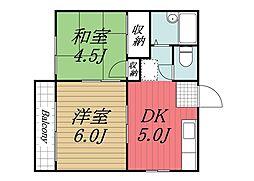 千葉県印西市木下東1の賃貸アパートの間取り