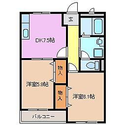三重県鈴鹿市末広東の賃貸アパートの間取り