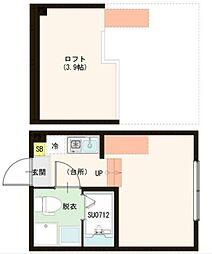 東武伊勢崎線 梅島駅 徒歩10分の賃貸アパート 2階ワンルームの間取り