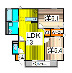 埼玉県さいたま市緑区道祖土3丁目の賃貸アパートの間取り