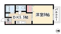 愛知県名古屋市名東区社口1丁目の賃貸アパートの間取り