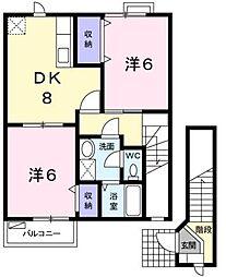 広島県福山市東手城町3丁目の賃貸アパートの間取り