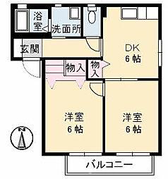ファミーユ中野A棟[101号室]の間取り