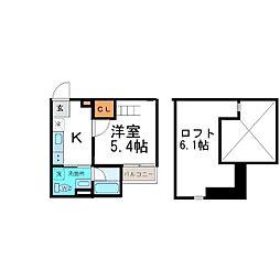 兵庫県尼崎市東大物町2丁目の賃貸アパートの間取り