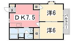 兵庫県高砂市阿弥陀町阿弥陀の賃貸アパートの間取り