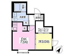 東京メトロ日比谷線 広尾駅 徒歩13分の賃貸マンション 3階1DKの間取り