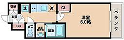 エステムコート難波サウスプレイスVIラグジー 11階1Kの間取り