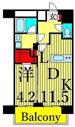東京メトロ日比谷線 南千住駅 徒歩8分の賃貸マンション 13階1LDKの間取り