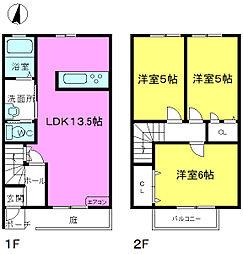 [テラスハウス] 福岡県糸島市前原北1丁目 の賃貸【/】の間取り