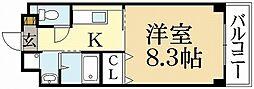 京都府京都市左京区松ケ崎杉ケ海道町の賃貸マンションの間取り