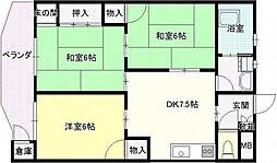 中川ビル 3階3DKの間取り
