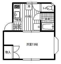 神奈川県大和市上草柳2丁目の賃貸アパートの間取り