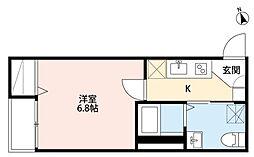 JR仙山線 東照宮駅 徒歩12分の賃貸アパート 1階1Kの間取り