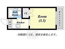 弘竹ホワイトハウス 2階1Kの間取り