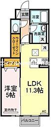JR赤穂線 邑久駅 徒歩5分の賃貸アパート 1階1LDKの間取り