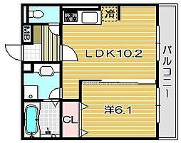 大阪府茨木市庄2丁目の賃貸アパートの間取り
