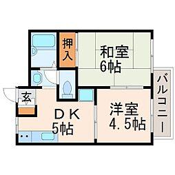 太田ハイツ南棟[1階]の間取り