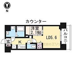 叡山電鉄叡山本線 茶山駅 徒歩3分の賃貸マンション 3階1LDKの間取り