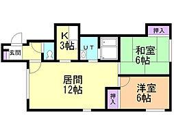 ソフィール18号館 2階2LDKの間取り
