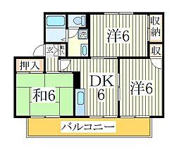 千葉県柏市増尾6の賃貸アパートの間取り