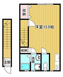 メイプル熊野 2階ワンルームの間取り