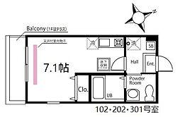 ハーミットクラブハウス鶴見生麦III(仮) 3階ワンルームの間取り