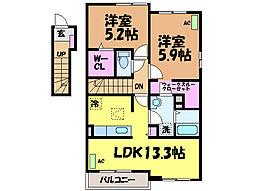 愛媛県松山市余戸東5丁目の賃貸アパートの間取り