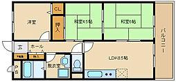 大阪府柏原市国分西2丁目の賃貸アパートの間取り