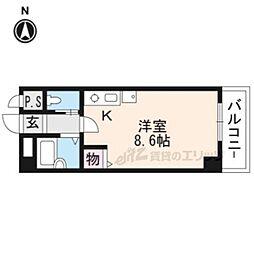 イクスピリオド京都河原町 5階ワンルームの間取り