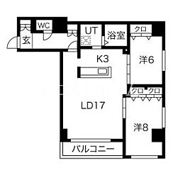新築レゾ札幌 3階2LDKの間取り