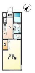 袖ケ浦市代宿97番5他新築アパート[201号室]の間取り