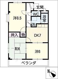 シャトレー松阪[1階]の間取り