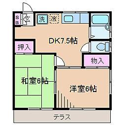 ハイムK[1階]の間取り
