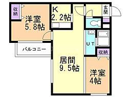 マンサーナ・ナンゴウ 2階2LDKの間取り