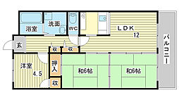 兵庫県姫路市別所町北宿の賃貸マンションの間取り