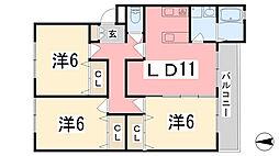 リノスタイル姫路北条[202号室]の間取り