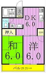 エステートピア新松戸[102号室]の間取り
