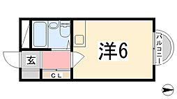 カルム白鷺[611号室]の間取り