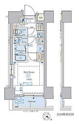 京急本線 北品川駅 徒歩2分の賃貸マンション 12階1Kの間取り