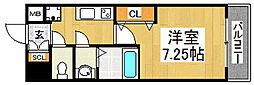 南海高野線 中百舌鳥駅 徒歩3分の賃貸マンション 6階1Kの間取り