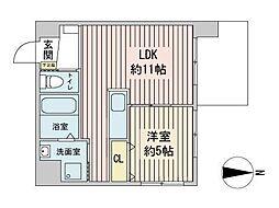モルティーニ表参道 9階1LDKの間取り