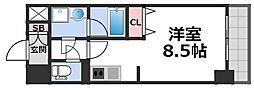 グランデュール大今里西II 5階1Kの間取り