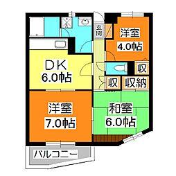 竹丘パークハイム[3階]の間取り