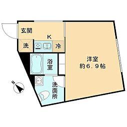 都営三田線 春日駅 徒歩8分の賃貸マンション 2階1Kの間取り