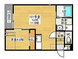 愛知県名古屋市瑞穂区北原町1丁目の賃貸アパートの間取り