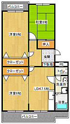 ポンパプラザ2[2階]の間取り