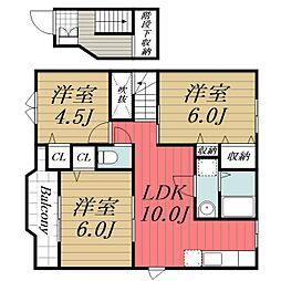 JR総武本線 八街駅 徒歩16分の賃貸アパート 2階3LDKの間取り
