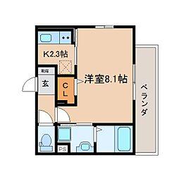 JR東海道本線 静岡駅 徒歩8分の賃貸マンション 1階1Kの間取り